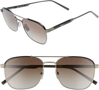 Salvatore Ferragamo Classic Logo 56mm Polarized Aviator Sunglasses