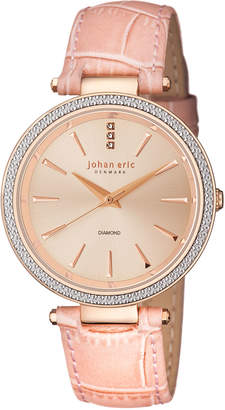 Johan Eric Fredericia Quartz Diamond Light Rose Leather Strap Watch