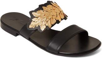 Giuseppe Zanotti Black Leaf Plate Double Band Slide Sandals