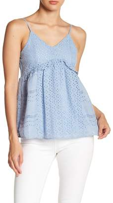 ALLISON NEW YORK Eyelet Lace V-Neck Babydoll Tank Top