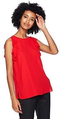 T Tahari Women's Kelby Short Ruffle Flutter Sleeve Blouse