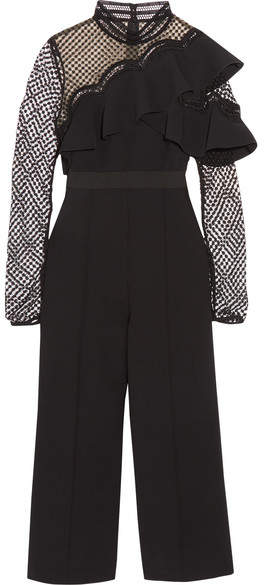 Self-Portrait - Cropped Ruffled Guipure Lace And Crepe Jumpsuit - Black