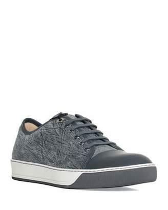 Lanvin Men's Woodland Textured Cap-Toe Sneakers