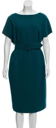 Giambattista Valli Knit Midi Dress Teal Knit Midi Dress