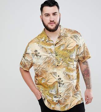Asos DESIGN Plus regular fit tiger print shirt