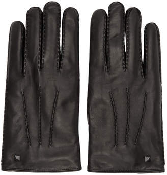 Valentino Black Garavani Leather Rockstud Gloves