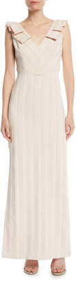 Aidan Mattox V-Neck Column Gown w\/ Pleat Detail