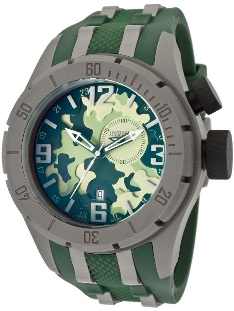 Invicta Men's Coalition Forces/Bolt GMT Green Camouflage Dial Green Polyurethane 10017 Watch
