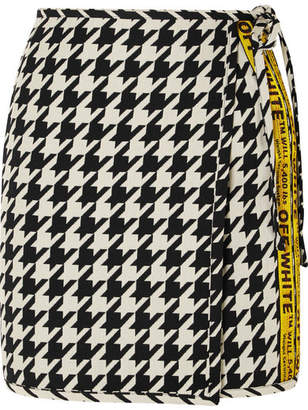 Off-White Houndstooth Wool-blend Wrap Mini Skirt - Black