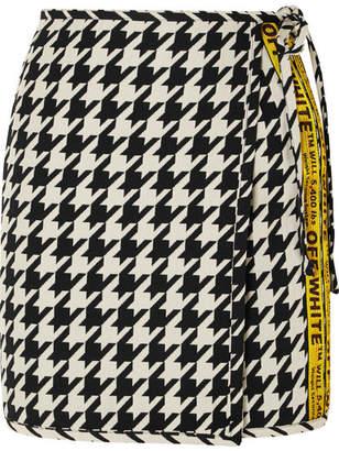 Off-White Houndstooth Wool-blend Wrap Mini Skirt - Black