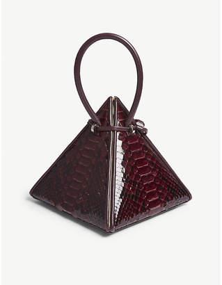 NITA SURI Lia pyramid python-embossed leather handbag