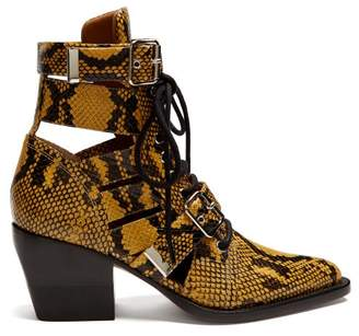 Chloé Rylee Snake Effect Leather Ankle Boots - Womens - Yellow Multi