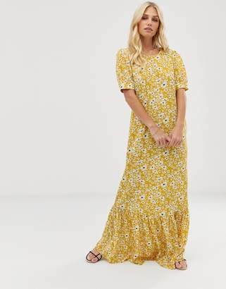 Vila volume sleeve floral maxi dress