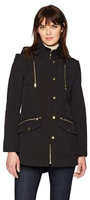 Via Spiga Women's Soft-Shell Anorak Jacket with Gold Hardware