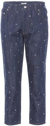 Miu Miu Crystal-embellished cropped jeans