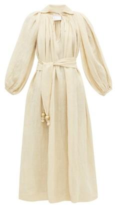 Lisa Marie Fernandez Poet Balloon Sleeve Linen Blend Dress - Womens - Beige