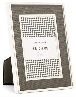 David Jones Silver Plated Black Linen 4 x 6 Metal Photo Frame