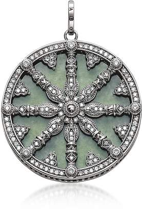 Thomas Sabo Blackened Sterling Silver Pendant w/White Cubic Zirconia and Green Aventurine