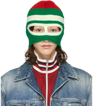 Gucci Green and Red Wool Balaclava