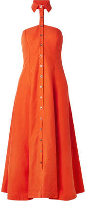 Mara Hoffman Veronique Tencel And Linen-blend Halterneck Dress - Bright orange