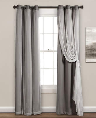 "Lush Decor Solid and Sheer Layered 95""x38"" Blackout Curtain Set"