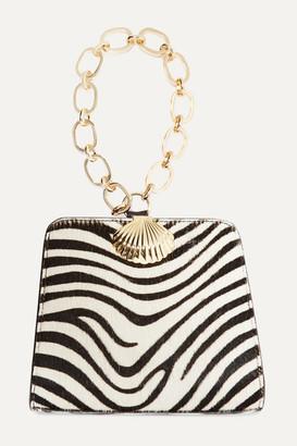 Rixo Amelie Zebra-print Calf-hair Tote - Black
