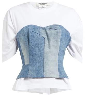 Junya Watanabe Denim Bustier Overlay T Shirt - Womens - White Multi