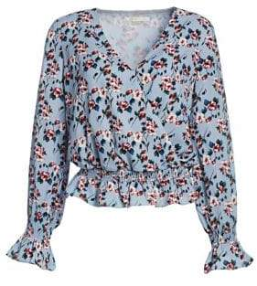 Scripted Floral Smocked Bell-Sleeve Blouse