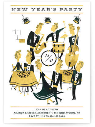New year jazz party Holiday Party Invitations