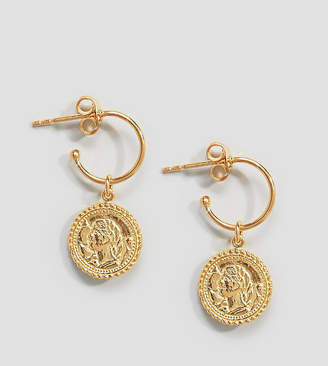 Asos Design Hoop Earrings With Vintage Coin Charms In Gold Plated Sterling Silver