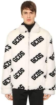 Monogram Logo Faux Fur Coat