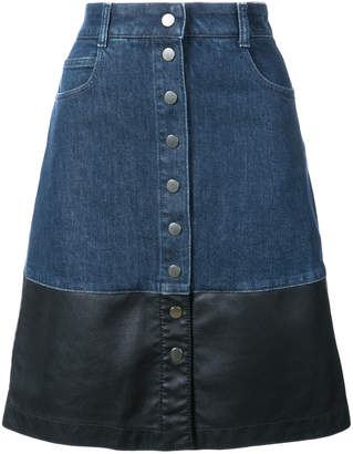 Stella McCartney faux leather-trimmed denim skirt