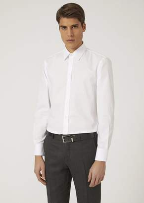 Emporio Armani Shirt In Micro-Woven Cotton