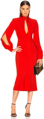 Victoria Beckham Slash Front Long Sleeve Midi Dress in Candy   FWRD