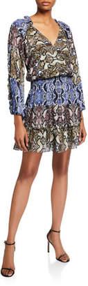 Parker Gladis Python-Print Ruffle Short Dress