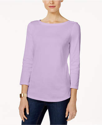 Charter Club Boat-Neck Button-Shoulder Top In Regular & Petite Sizes, Created for Macy's