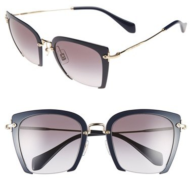 Miu Miu Women's Miu Miu 52Mm Semi Rimless Sunglasses - Blue