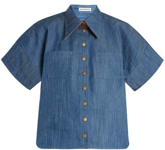Vika Gazinskaya Short Sleeved Box Cut Denim Shirt - Womens - Mid Blue