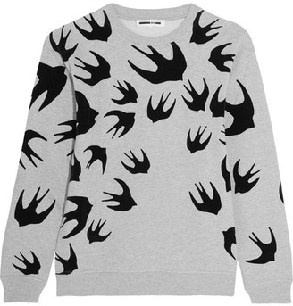 McQ Alexander McQueen - Flocked Cotton-blend Terry Sweatshirt - large $330 thestylecure.com