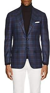 Kiton Men's KB Plaid Cashmere-Blend Two-Button Sportcoat-Blue