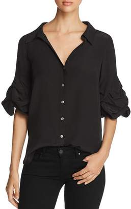 Badgley Mischka Balloon Sleeve Silk Blouse