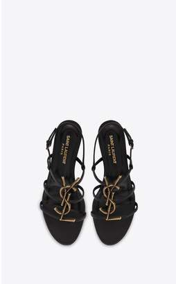Saint Laurent Cassandra Open Sandals In Smooth Leather With Gold-Toned Bamboo Logo