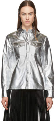 MSGM Silver Faux-Leather Button Down Shirt