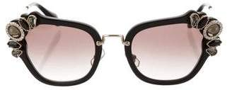 Miu Miu Embellished Square Sunglasses