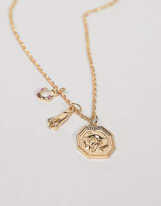 Asos Design DESIGN necklace with rope chain and pack of 3 interchangeable vintage style charms in gold