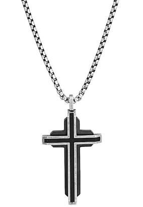 Steve Madden Layered Design Cross Pendant Box Chain Necklace