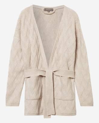N.Peal Basketweave Belted Cashmere Cardigan