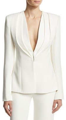 Brandon Maxwell Layered Lapel Suiting Jacket, Ivory $1,995 thestylecure.com