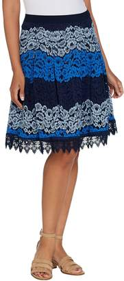 Isaac Mizrahi Live! Ombre Lace Stripe Skirt