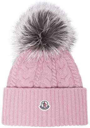 Moncler Pink wool beanie hat with pom pom
